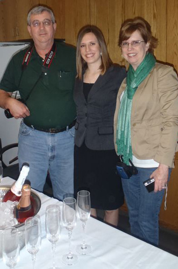 Linda with her parents