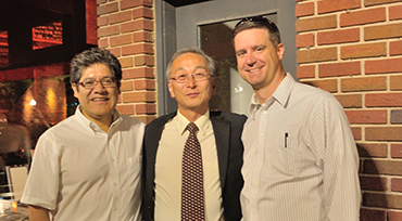 Left to right:  KU Chemistry professor Mario Rivera, Professor Ikeda-Saito, KU Medicinal Chemistry Chair Tom Prisinzano
