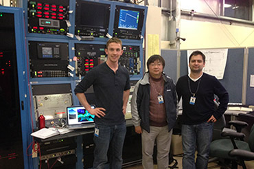 Left to right, Charlie, Youbin, Fernando at SSRL beam line 12-2